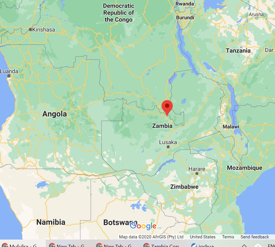 Location of Murulira, Zambia on the DRC border.